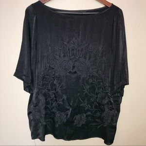 Zara Woman Black Satin Embroidered Blouse NWOT